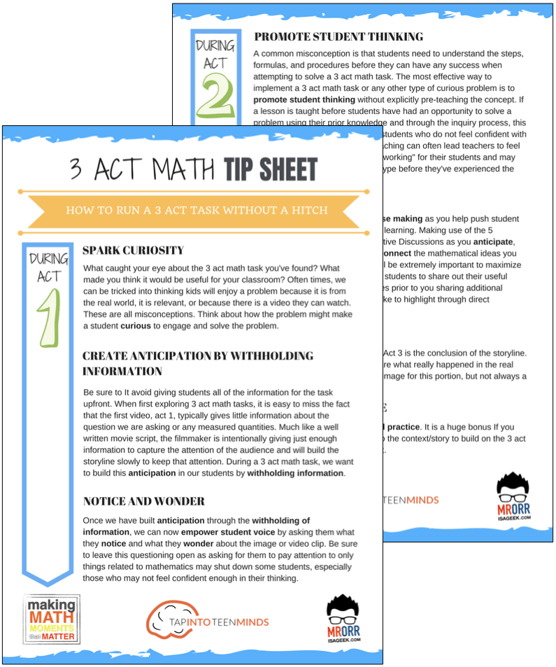 3 Act Math Tip Sheet