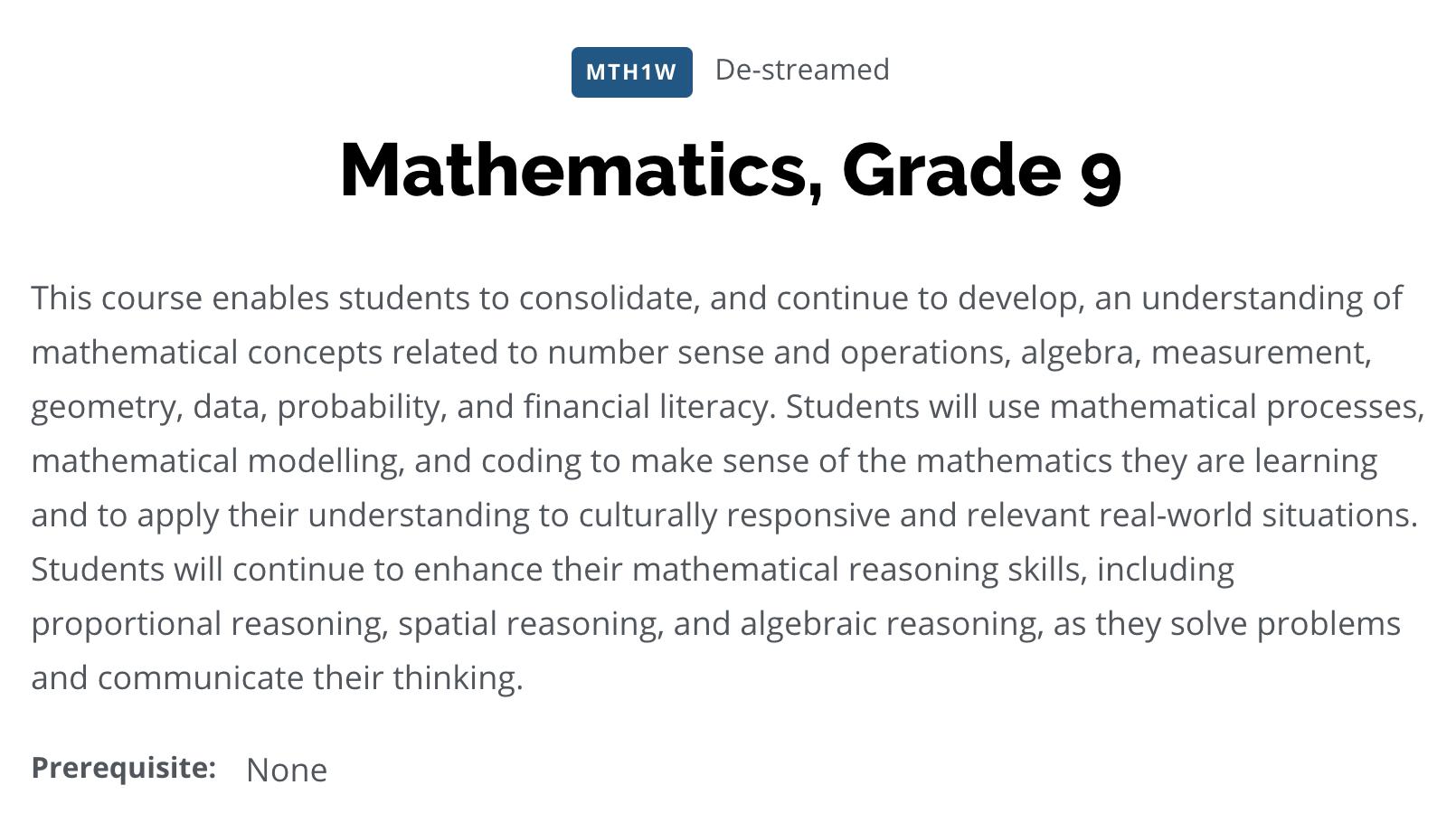 MTH1W De-streamed Mathematics, 9 Curriculum Digital Format
