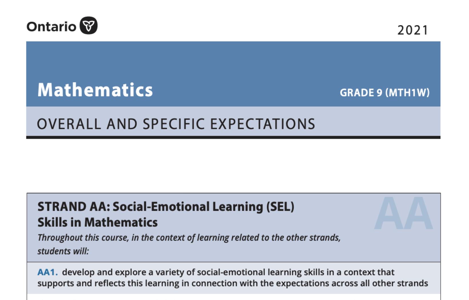 MTH1W De-streamed Mathematics, 9 Curriculum PDF Format