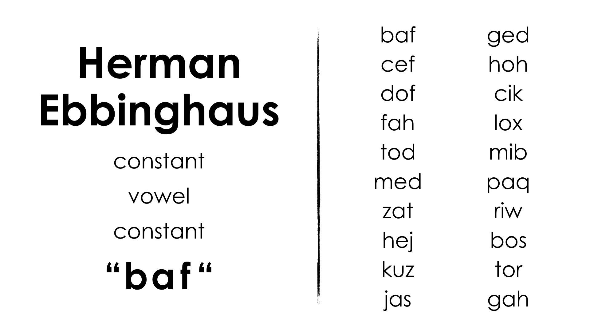 Spiralling Your Math Curriculum - Herman Ebbinghaus List of Nonsensical Words