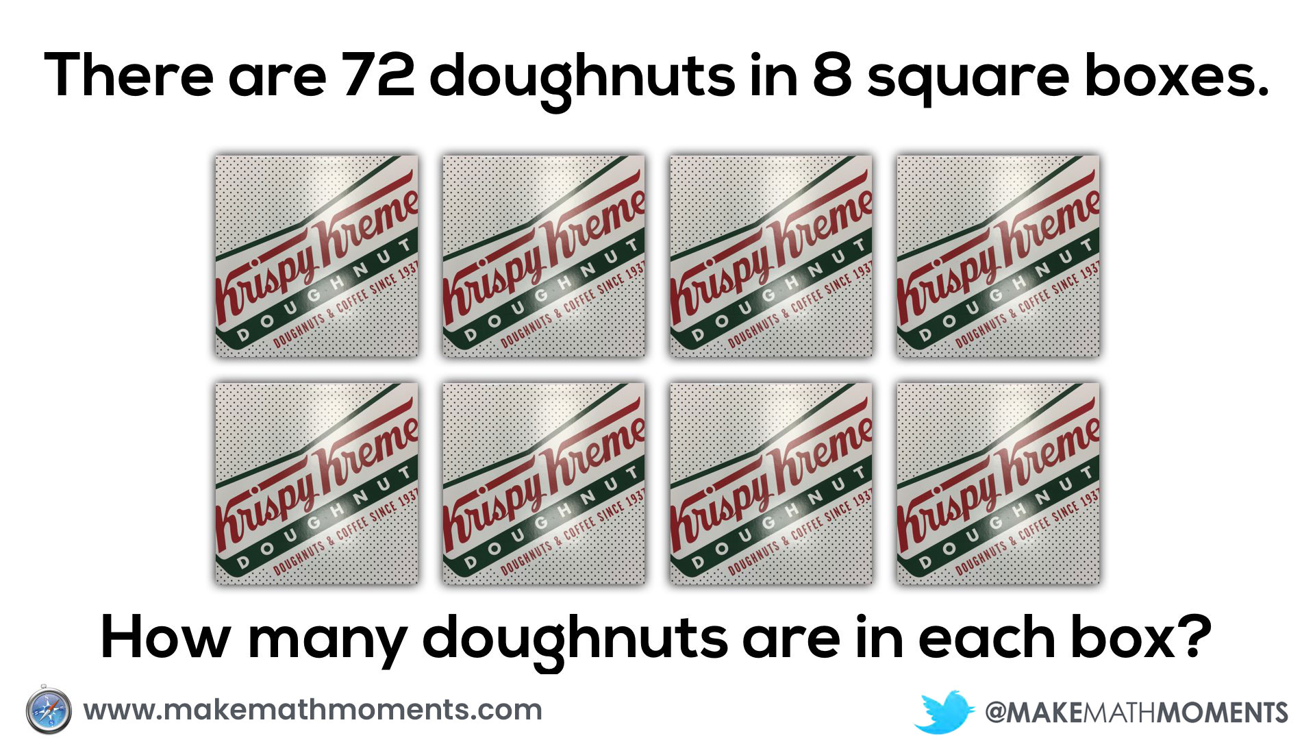 72 doughnuts in 8 square boxes how many are there