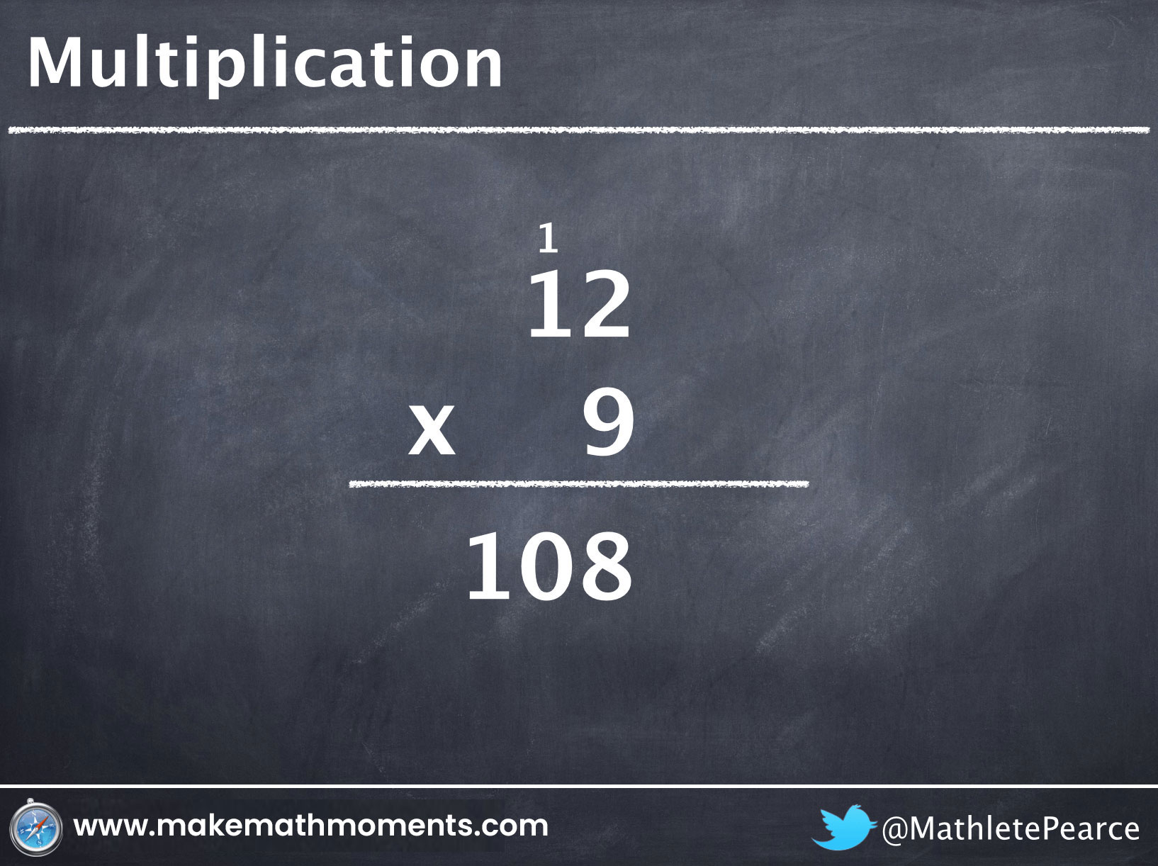 North American Multiplication Algorithm 12 x 9 = 108