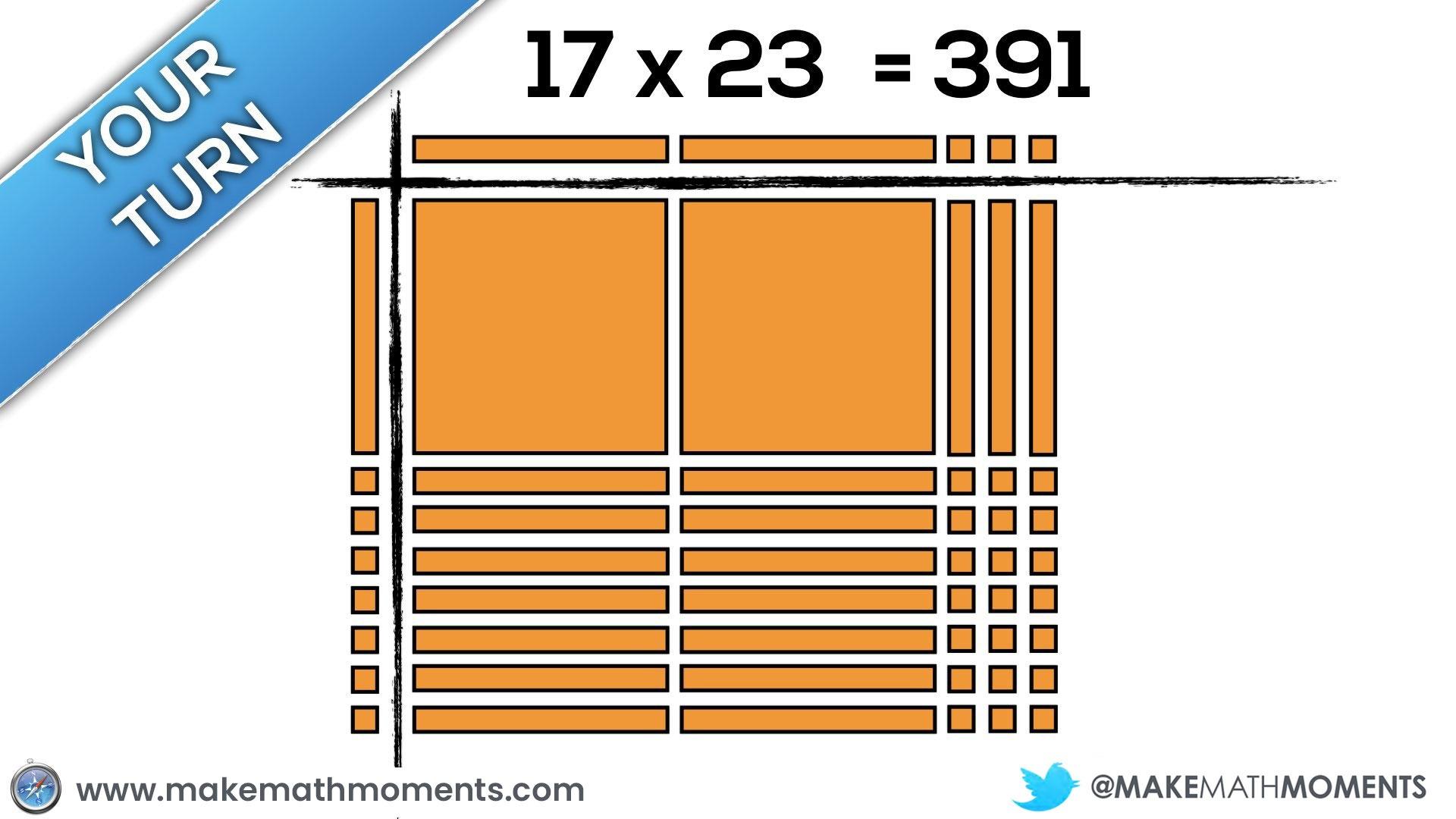 Progression of Multiplication Area Model With Base Ten Blocks 17 x 23
