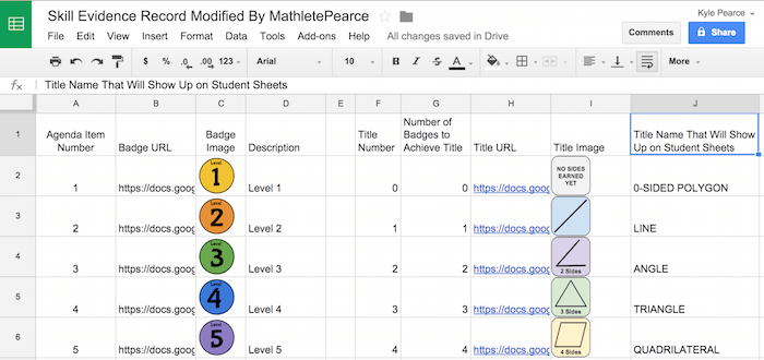 Student Skill Evidence Learning Goal Spreadsheets - Badges & Titles Sheet small