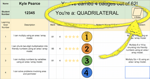 Student Skill Evidence Sheet With Badges and Polygonal Title Hierarchy