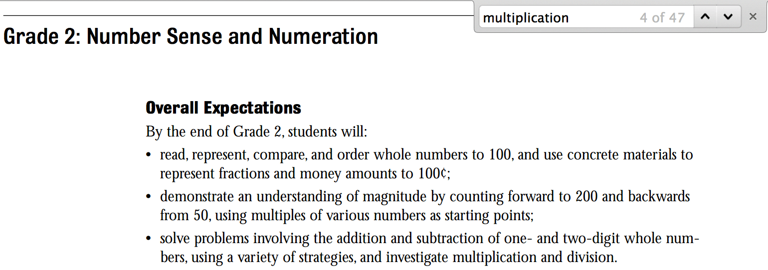 The Word Multiplication Occurs 47 Times in the Ontario Math Curriculum